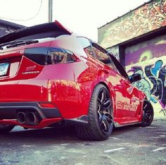 Subaru sti red and black sick