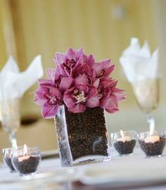Elegant with flowers - Coffee themed wedding, Brown cream wedding, Table decoration ---blueberries instead of coffee beans? Description from pinterest.com. I searched for this on bing.com/images