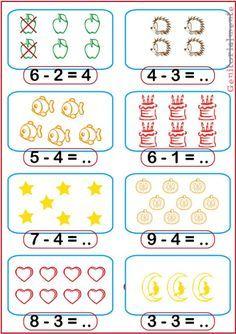 Math Addition Worksheets, Kindergarten Math Worksheets, Preschool Activities, Montessori Preschool, Montessori Elementary, Elementary Teaching, Preschool Writing, Numbers Preschool, Preschool Learning