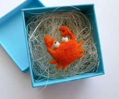 Little Crab Needle Felt Brooch, Wool  Jewellery, Eco-Friendly, Orange and White
