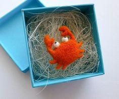Little Crab Needle Felt Brooch, Wool  Jewellery, Eco-Friendly, Orange and White