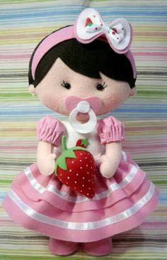 Bonecas com moldes para feltro - Como Fazer Doll Sewing Patterns, Felt Patterns, Sewing Dolls, Fabric Dolls, Paper Dolls, Clay Baby, Felt Decorations, Doll Crafts, Art Crafts