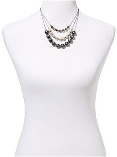 Houndstooth Beaded Triple-Strand Necklace