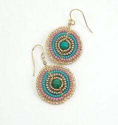turquoise mandala earrings beaded with by TheBeadedMandala on Etsy, $35.00