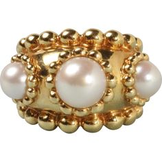 Vintage Chanel Heavy 18K Gold and Three Pearl Wide Band Beaded Ring -- found at www.rubylane.com @rubylanecom #VintageBeginsHere