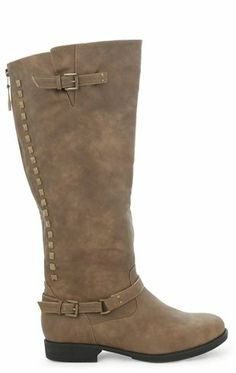 6422f2affaaf5 Wide Width Riding Boot with Studded Detail on Zipper