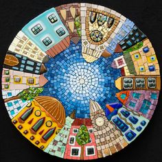 Mosaic table top with cute view of the town, by Irina Charney