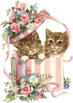 Gif_Paradise: CAT GIFS Předměty S Kočkami, Malby, Vintage Prints, Klasické Ilustrace, Zvířecí Humor, Legrační Kočky, Koťata, Legrační Zvířata, Kočky