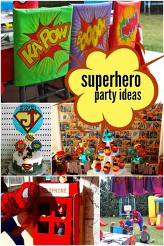 boy's super hero birthday party www.spaceshipsandlaserbeams.com