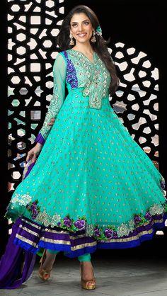 Ravishing Blue Net and Stanton Anarkali Salwar Kameez - IG6911 USD $ 130.94
