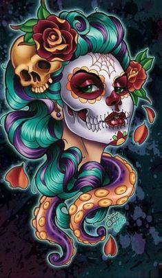 Catrina Day of the Dead (by Bruno Costa) La Muerte Tattoo, Catrina Tattoo, Los Muertos Tattoo, Sugar Skull Artwork, Sugar Skull Girl, Sugar Skulls, Skull Pictures, Day Of The Dead Art, Skull Wallpaper