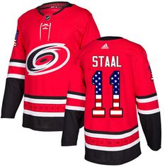 186018207 Adidas Hurricanes  11 Jordan Staal Red Home Authentic USA Flag Stitched  Youth NHL Jersey Nhl