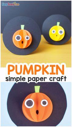 Halloween Paper Pumpkin Craft - Easy Peasy and Fun Pumpkin Crafts, Paper Pumpkin, Crafts For Kids To Make, Kid Crafts, Easy Paper Crafts, Halloween Projects, Cute Halloween, Recycled Crafts, Easy Peasy