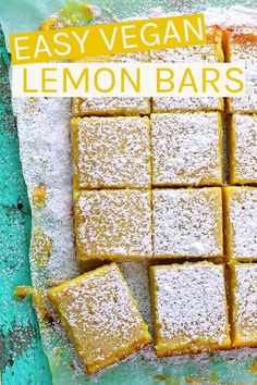 These vegan Lemon Bars are made with a buttery shortbread crust and filled with ., These vegan Lemon Bars are made with a buttery shortbread crust and filled with an easy Meyer lemon curd for the perfect sweet and sour treat. Vegan Treats, Vegan Foods, Lemond Curd, Vegan Lemon Bars, Ma Baker, Gateaux Vegan, Desserts Ostern, Vegan Bar, Vegan Dessert Recipes