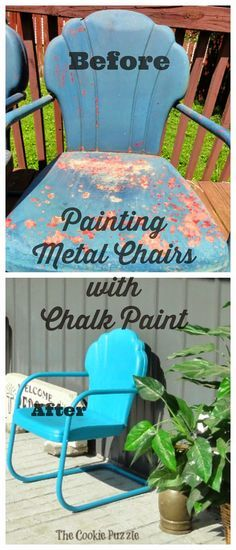Now I just need to find the metal chairs on one of my thrifting adventures! Painting Metal Chairs with Chalk Paint via The Cookie Puzzle Painted Metal Chairs, Vintage Metal Chairs, Metal Lawn Chairs, Vintage Patio, Wooden Chairs, Antique Chairs, Chalk Paint Projects, Chalk Paint Furniture, Paint Ideas