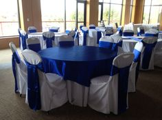 Royal blue horizon sashes overlay chair cover