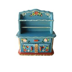 Bavarian Style Hutch Miniature Hand Painted China Cabinet by Dora Kuhn West Germany / Dollhouse Furniture / Miniature China Cabinet