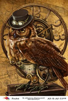 owl steampunk by on DeviantArt Gato Steampunk, Steampunk Animals, Graffiti Kunst, Steampunk Artwork, Steampunk Images, Owl Artwork, Pictures For Sale, Meaningful Tattoos For Women, Temporary Tattoo Designs
