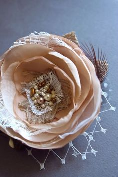 Nature Inspired Rustic Bridal Hair Piece, Burlap Wedding Flower Fascinator