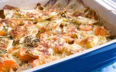 Juuresgratiini - Reseptit - Arla Cheeseburger Chowder, Mashed Potatoes, Macaroni And Cheese, Cauliflower, Soup, Vegetables, Ethnic Recipes, Whipped Potatoes, Mac And Cheese