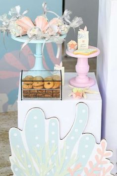Take a look at this beautiful under the sea birthday party! The party food is gorgeous!  See more party ideas and share yours at CatchMyParty.com  #catchmyparty #partyideas #donutparty #donuts #undertheseaparty #mermaids #mermaidparty #girlbirthdayparty #partyfood Mermaid Party Food, Mermaid Parties, Girl Birthday, Birthday Parties, Sea Cakes, Mermaid Cakes, Donut Party, Under The Sea Party, Favors
