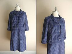 Vintage 1960s Blue and White Dress and Jacket