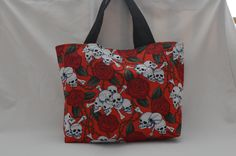 Hand-made tote bag - £12.  All items can be posted and payments via paypal accepted.  UK postage £2.50, will be sent 1st class recorded delivery. #rockabilly #gothic #skulls #punk #evening bag #handmade