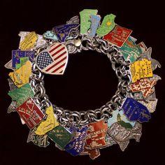 Vintage REU Sterling//Enamel Tennessee Map Shaped Bracelet Charm Red NOS