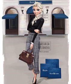 Russian artist illustrates how Disney princesses in modern luxury . - Mara E. - Russian artist illustrates how Disney princesses in modern luxury b …. Disney Princess Modern, Modern Disney Characters, Disney Princess Fashion, Disney Princess Pictures, Disney Princess Drawings, Princess Style, Disney Drawings, Disney Style, Drawing Disney