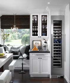 Modern Chic kitchen nook eating area, modern bar stools & Kitchen Island & bar area next to nook. That narrow wine fridge. Kitchen Nook, Kitchen Decor, Design Kitchen, Kitchen Bars, Kitchen Island, Kitchen Pantry, Kitchen Banquette, Decorating Kitchen, Kitchen Dining
