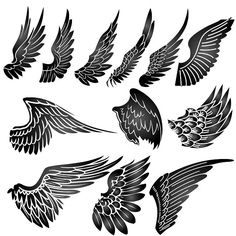 Black Ink Valkyrie Wings Tattoo On Arm photo - 2