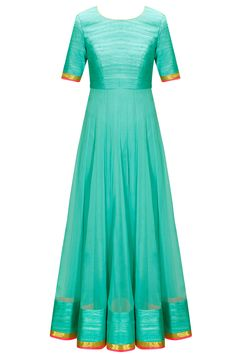 Turquoise and hot pink gota work anarkali set available only at Pernia's Pop-Up Shop.