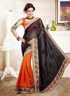 Orange & Black Wholesale Saree Collection