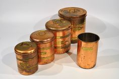 Copper Containers 5 pc set Copper Kitchen Decor/Farmhouse Rustic Decor/French Country Kitchen/Tea/sugar/coffee/flour copper Keeper/farmhouse by decor4home2 on Etsy