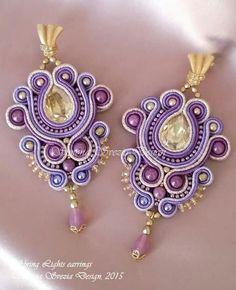 Orecchini Spring Lights/Spring Light earrings by PerlineeBijoux Jewelry Crafts, Jewelry Art, Handmade Jewelry, Jewelry Design, Soutache Earrings, Beaded Earrings, Shibori, Bead Jewellery, Jewelery