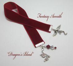 Fantasy Dragon Velvet Ribbon Bookmark Dragon's by WhispySnowAngel, $10.00