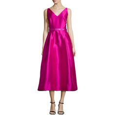 ML Monique Lhuillier Sleeveless Beaded Tea-Length Dress ($635) ❤ liked on Polyvore featuring dresses, fuchsia, v neck dress, zipper back dress, tea length dresses, pink pleated dress and pink beaded dress