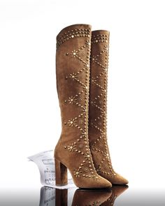 3a06a5228de0 Saint Laurent Ella Studded Knee-High Boots
