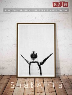 Penguin Printable Black White Penguin wall decor by ShakArts