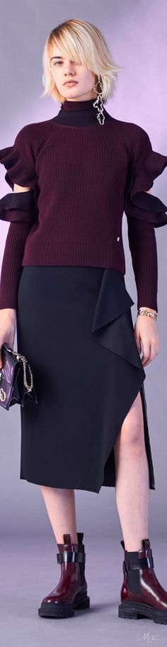 Versace Pre F-17: ruffle sweater, wrap skirt.