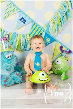 Boys Birthday Party Hat, Diaper Cover, Tie - First Birthday, Smash Cake Pics, Photo Prop - Little Monster Lil Monster Monsters Inc