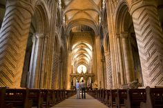 Durham Cathedral. England, 1087-1133. Original east end replaced by a Gothic choir, 1242-c. 1280. Vault height about 73'.