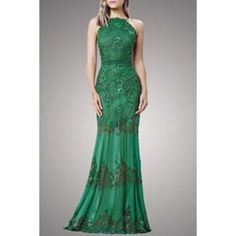 Wholesale Elegant Jewel Neck Sleeveless Hollow Out Green Lace Evening Dress For Women Only $13.00 Drop Shipping   TrendsGal.com