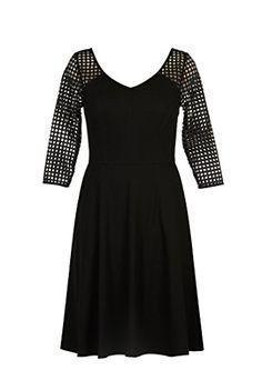 44a9721027de eShakti Women s Laser cut polka dot cotton knit dress XS-0 Regular Black  eShakti http