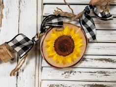 (1) Autumn Bead Garland with buffalo plaid ribbon, Pumpkin & sunflower Rus – The White Birch Studio Farmhouse Mantel, Handmade Market, Pallet Creations, Beaded Garland, Wood Slices, Craft Sale, Home Wall Decor, Happy Fall, Buffalo Plaid