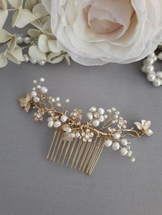 Bridal Hair Jewelry. Flower Hair Comb, Wedding Headpiece Gold, Pearl Hair Adornments, 3153 - #goldheadpiece - Bridal Hair Jewelry. Flower Hair Comb, Wedding Headpiece Gold, Pearl Hair Adornments, 3153... Bridal Hair Chain, Wedding Hair Flowers, Flower Hair, Flowers In Hair, Wedding Bouquets, Bridal Comb, Pearl Bridal, Gold Headpiece, Flower Headpiece