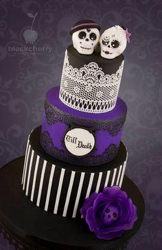 gâteau mauve et noir calavera
