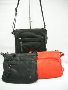 Available in Red, Black and Navy. Three side pockets and three inside compartments. Black And Navy, Red Black, Hard Wear, How To Wear, How To Make Handbags, Pu Leather, Shoulder Strap, Pockets, Zip