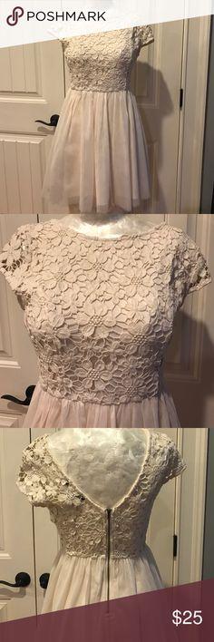 Crochet top dress Cream colored mini dress. Dip in the back. Worn once Dresses Mini
