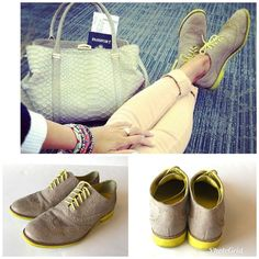 """COLE HAAN Nike Air """"Alisa"""" Sz 7B Women's Brogue Wing Tip Beige Suede Neon Sole   Clothing, Shoes & Accessories, Women's Shoes, Flats & Oxfords   eBay!"""